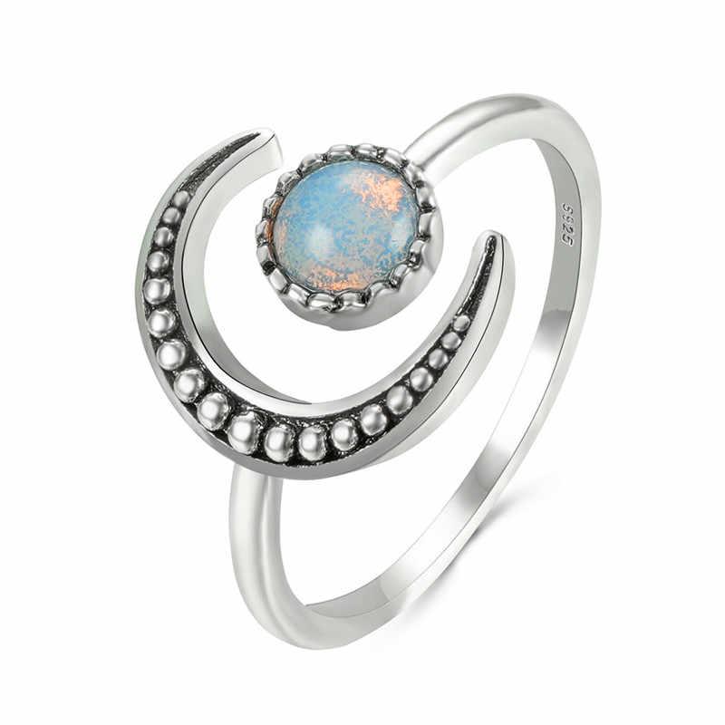 Anello di fidanzamento da donna in pietra di luna aperta regolabile anello di fidanzamento da sposa Color argento fedi nuziali in pietra di zircone Vintage per donna