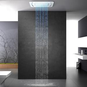 Image 2 - Роскошная светодиодсветильник насадка для душа, массажные насадки для душа из нержавеющей стали для ванной и спа, 580*380 мм, встраиваемая потолочная дождевая душевая панель