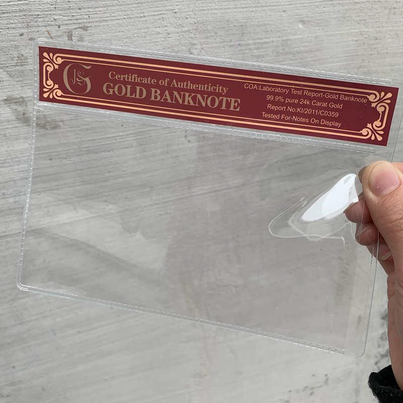 10 шт., золотые держатели для банкнот, ПВХ рамка