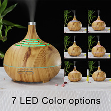 Hollow Aromatherapy Machine 400ml Humidifier Aroma Creative Remote Control Wood Grain Fragrance Lamp