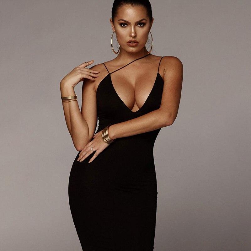 Модное сексуальное женское летнее платье без рукавов с глубоким v-образным вырезом 2020 черное облегающее платье на бретельках элегантное пл...