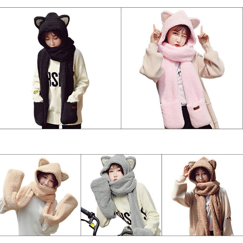 Womens 3 In 1 Warm  Plush Winter Hat Cute Animal Ears Scarf Gloves Hoodie Cap High Quality And Brand New