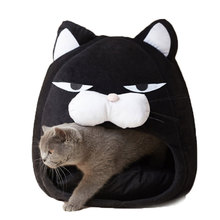 Cartoon Cat bed Fleece Lovely Pet House for Puppy Cat Warm Soft Cat cave tent waterproof Bottom Sleep bag Cat Supplies