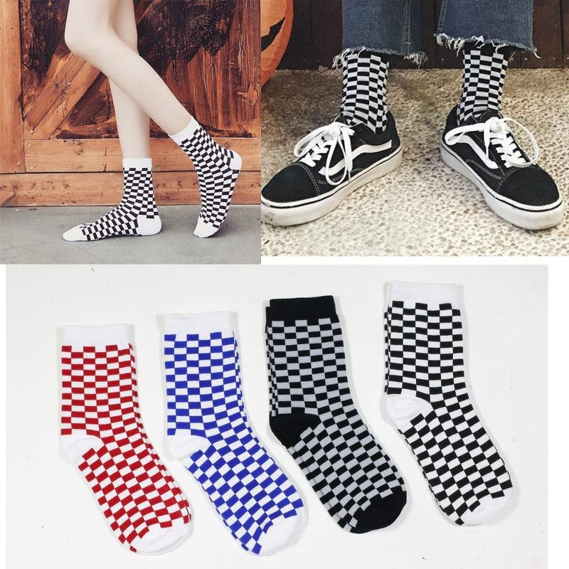 Korea Funky Harajuku Trend Women Checkerboard Socks Geometric Checkered Socks Men Hip Hop Cotton Unisex Streetwear Novelty Socks