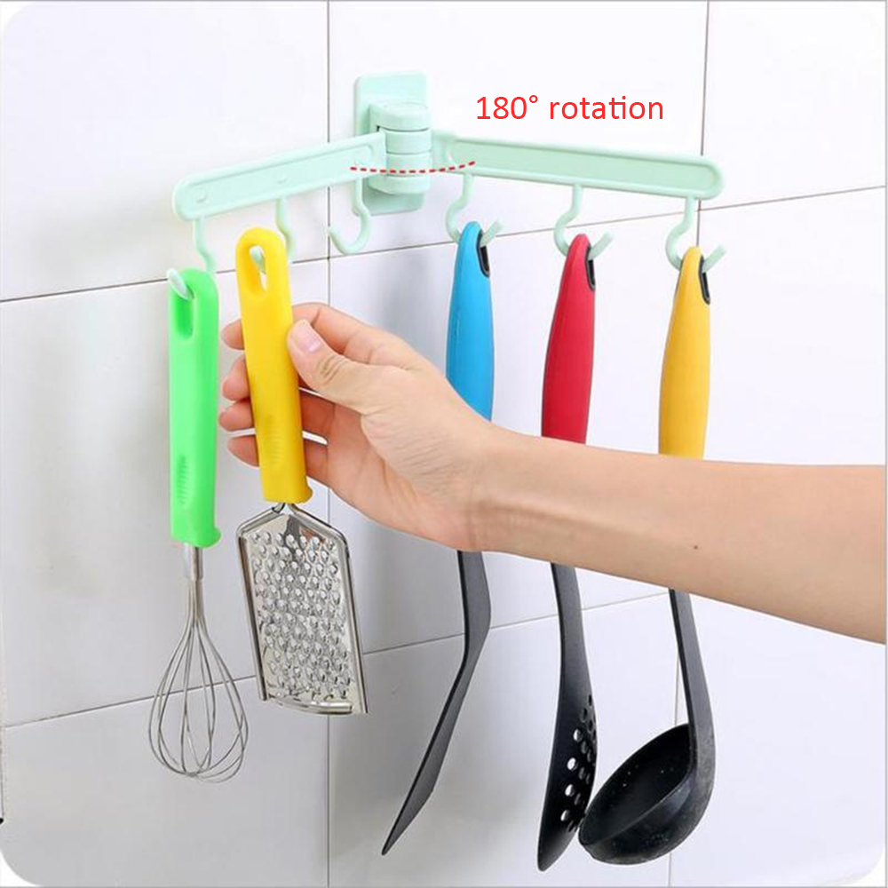 6-Hook Seamless Adhesive Hook 180 Degree Rotatable Strong Stick Hook Kitchen Wall Hanger Load Bearing Bathroom Kitchen Hooks