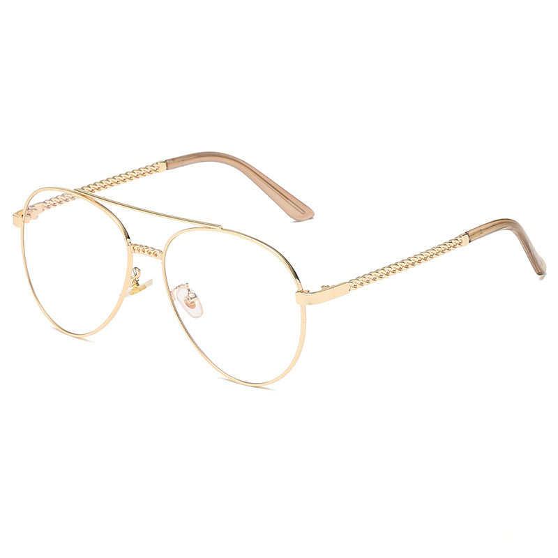 AVIATOR Womens Retro Sunglasses Silver Chain Frame New