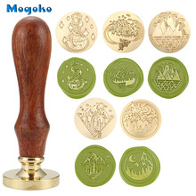 Mogoko 1x 30mm Moon and Mountain Wax Seal Stamp Retro Wood Classic Sealing Wax Stamps Envelope Card Decor Antique Seal Wax Stamp 1x wax seal stamp retro wood classic sealing wax seal stamp decorative rose tree of life wedding invitation antique stamp