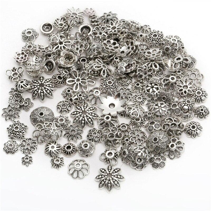 40 г около 150 шт Серебряные смешанные различные узорные бусины для концевых бусин для DIY ювелирные изделия, изготовление браслетов