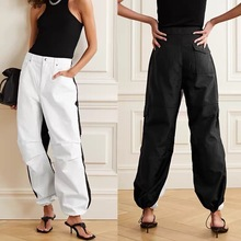Skinny Jeans Drawstring Pants Trend-Tooling Elastic Loose High-Waist Fashion Stitching