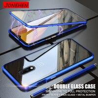 Funda de parachoques de Metal para móvil, Protector de pantalla de vidrio magnético de doble cara para Oneplus 7 7T 8 Pro 6T One Plus 7 Pro 8 7pro 360