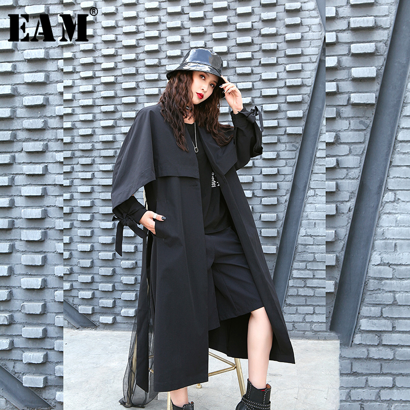 [EAM] Women Black Bandage Brief Long Big Size Trench New V-collar Long Sleeve Loose Fit Windbreaker Fashion Spring 2020 1R479