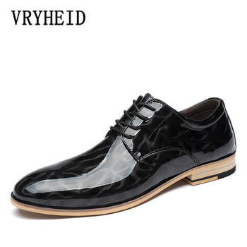 VRYHEID New Men Dress Shoes Formal Shoes Men's Handmade Business Shoes Wedding Shoes Genuine Leather Lace-up Male Big Size 37-48