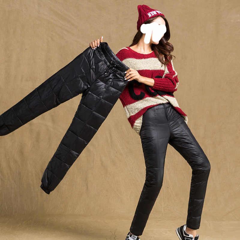 暖かいカジュアル女性ダウンパンツダウン 90% ホワイトダック弾性バンドフィットカット屋外耐久性のある冬