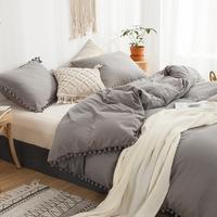 Licht Grau Bettwäsche Pom Pom Bettbezug-set Ball Fringe Home Textile Solide Farbe Bettwäsche Sets Weiche Mikrofaser Tröster Abdeckung