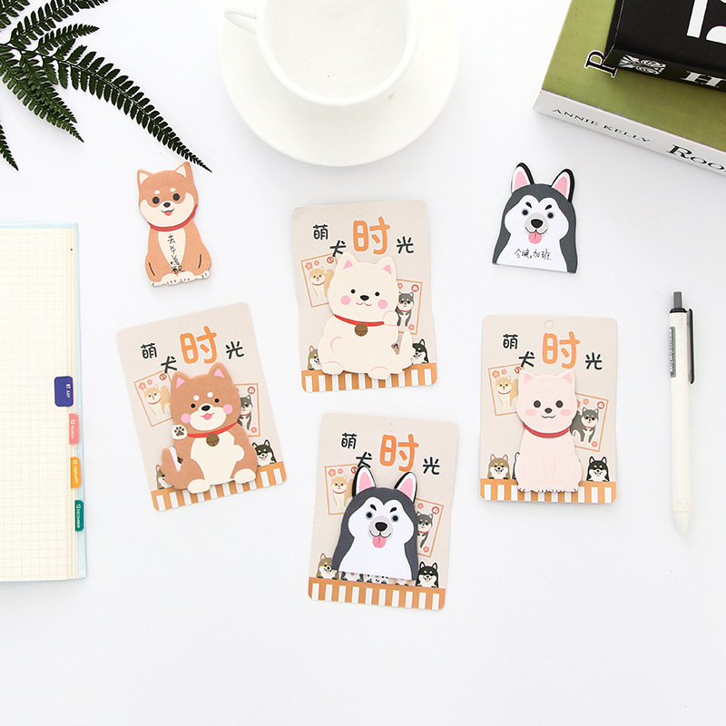 1Pack Cute Dog Series Little Dog Puppy Memo Pad Plan Message Sticky Notes Student Stationery School Office Supply