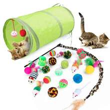 Pet Cat Toys Set Foldable Stick Bell Ball Feather Toy Assorted Interactive For Cats Kitten Tunnel Funny Play