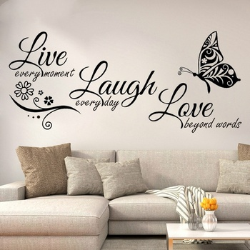 Live Laugh Love Butterfly Flower Wall Art Sticker Modern Wall Decals Quotes Vinyls Stickers Wall Stickers Home Decor Living Room 1