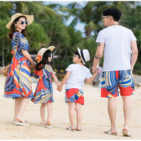2019 Family Matching Outfits Summer Fashion beach striped Dress Mother And Daughter Dresses Father Son Baby Boy Clothes Shorts