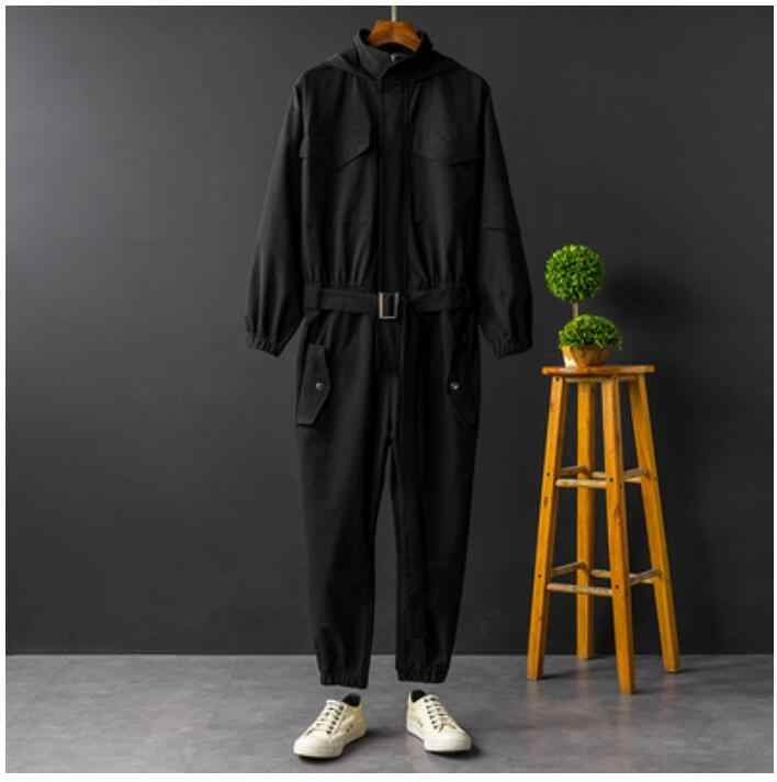 Jumpsuit Men Rompers One Piece Overalls Mens Long Sleeve Hooded Cargo Casual Streetwear Pants Trousers Male Plus Size XXXL