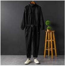 Jumpsuit Men Rompers One Piece Overalls Mens Long Sleeve Hooded Cargo Casual Streetwear Pants Trousers Male Plus Size XXXL(China)