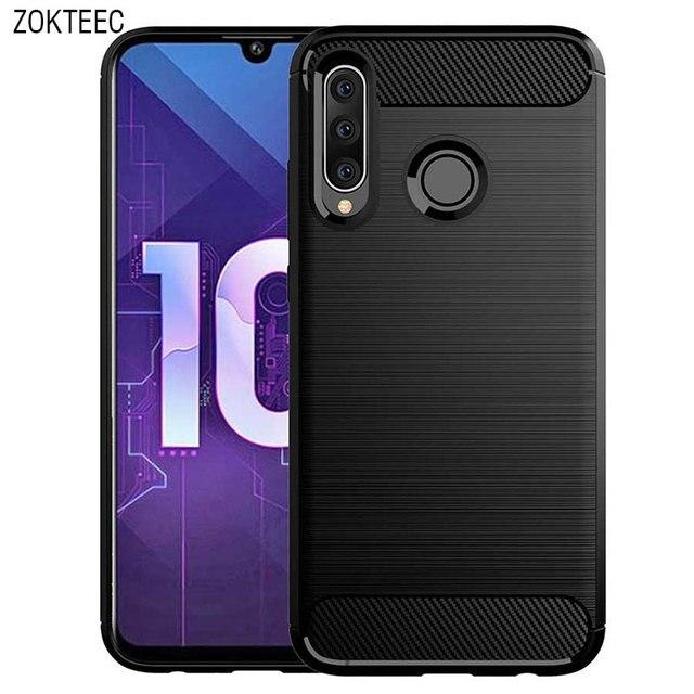 ZOKTEEC pour Huawei nova 4 étui de luxe armure antichoc en Fiber de carbone souple TPU silicone étui housse pare chocs pour Huawei nova 4