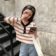 Women Autumn Fashion Long-sleeved Sweater V-neck Striped Sweater Slim Button Knit Top