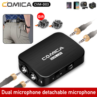 Comica CVM D03 Dual Lavalier Lapel Microphone Clip on Interview Micr kit for iPhone Android Smartphone mobile Cameras Camcorders
