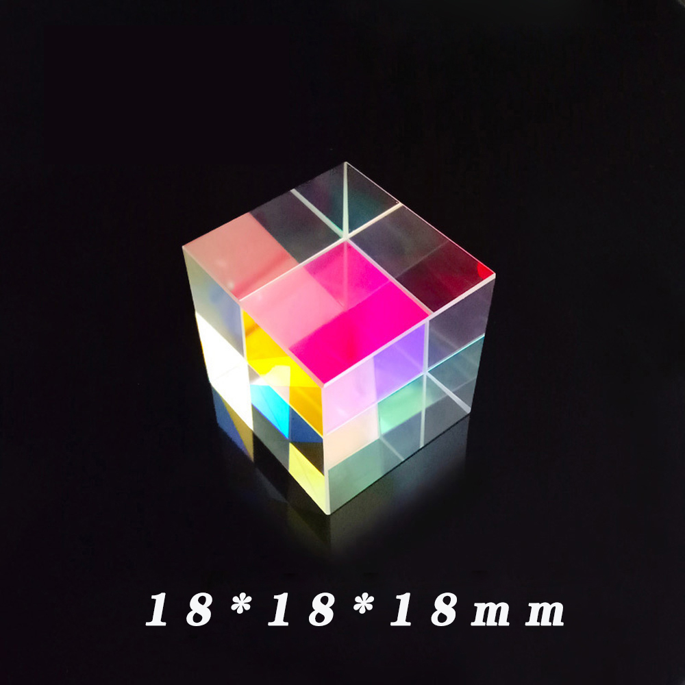 Cross Dichroic Cube Color Prism Combiner Splitter Optical Prisms Glass K9 Light Experiment Tool Gift Six-Sided Bright Light