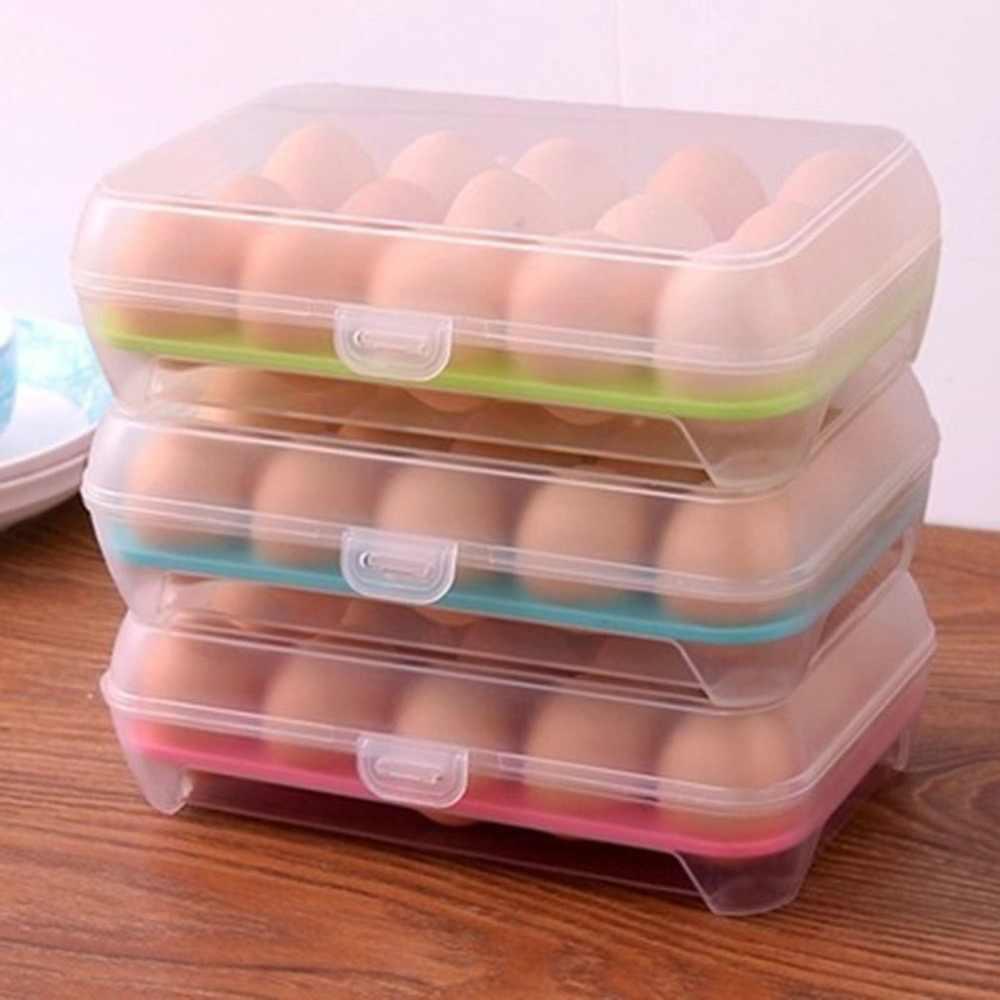 15 กริดไข่ผู้ถือกล่องจัดเก็บกล่องแบบพกพาไข่ไข่Carrierสำหรับเดินป่ากลางแจ้งCamping