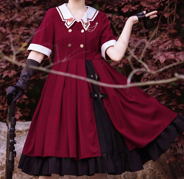 Фото винтажное платье лолиты с v образным вырезом черное платье falbala
