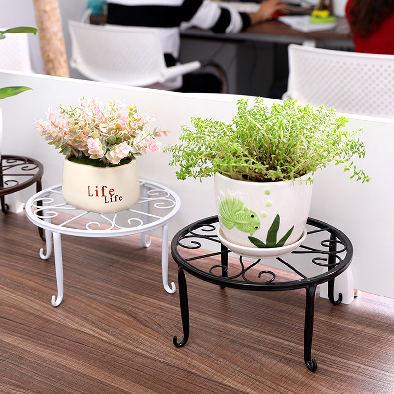 Potted Stander Wrought Iron Home Decor Classic Style Plant Balcony Create Round Garden Storage Rack Stand Floor Display Shelf