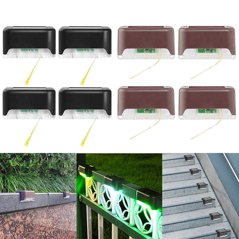 4pcs IP65 Waterproof LED Stair Light Solar Energy Powered Wall Fence Decorative Lamp For Courtyard Outdoor Landscape Lighting