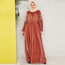 Siskakia Velvet Draped Swing A Line dresses Elegant Floral Embroidery