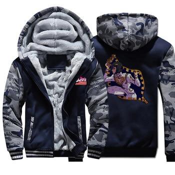 Funny Jojo Anime Camo Jacket Men Jojo Bizarre Adventure Sweatshirt Men Fleece Coat Plus Size Sportswear Hip Hop Streetwear