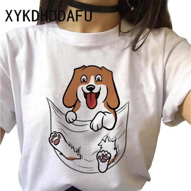 Beagle T Shirt Dog Women Kawaii Harajuku Top Tee Aesthetic Ulzzang Tshirt Femme Funny Vintage Casual O-Neck T-shirt Female 2020 6