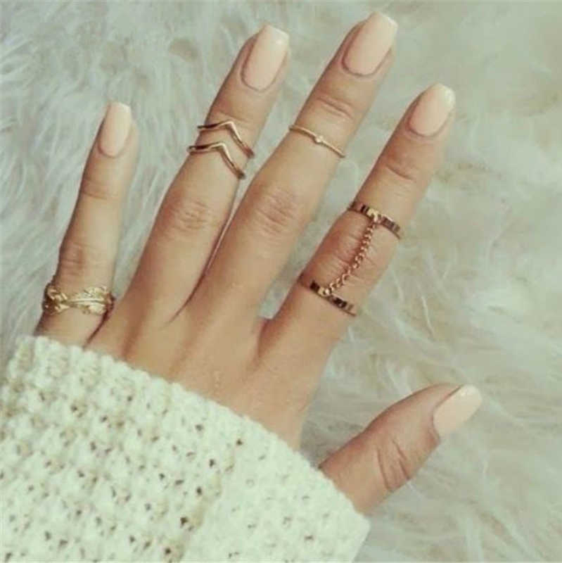 New Ring Style Plated Stacking Ring Set Charm Leaf Rings For Women Jewelry Vintage Gold Ring Set Jewelry Wholesale