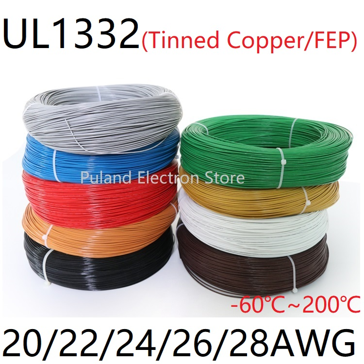 Red 200°C HIGH TEMP PTFE Electronic Wire Cable Cord Tin Copper UL1332 12~28AWG