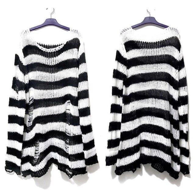 Punk Gothic Long Unisex Sweater 2020 Summer Women Striped Cool Hollow Out Hole Broken Jumper Loose Rock Thin Dark Streetwear Top 4