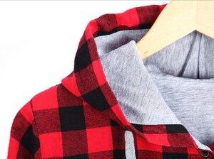 Image 5 - HZIJUE kobiety dorywczo czerwona koszula w kratę z kapturem z długim rękawem anglia koszula topy mężczyźni Harajuku czarna bluzka w kratkę odzież dla par