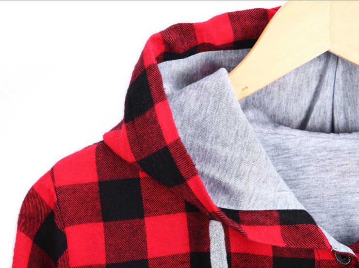 HZIJUE 女性カジュアル赤チェック柄シャツフード付き長袖イングランドシャツトップス男性原宿黒市松ブラウスカップル服