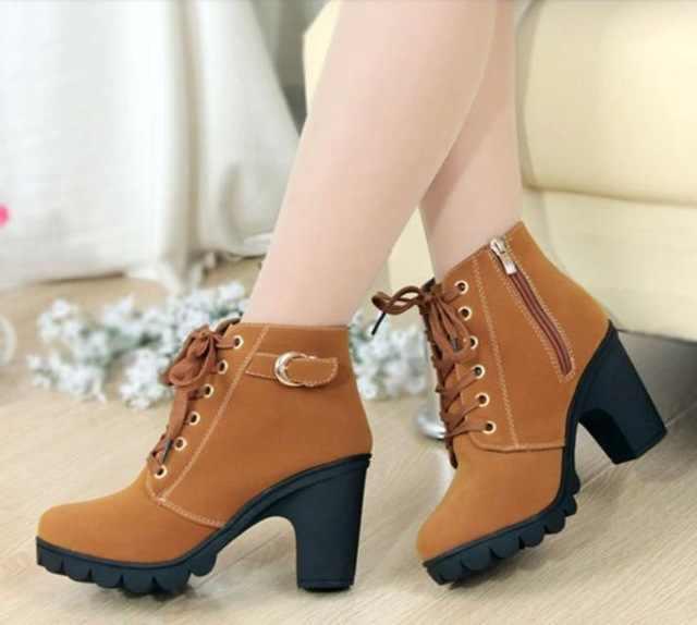 รองเท้าบูทข้อเท้าสำหรับสตรี 2019 ใหม่ elegant สแควร์ส้นรองเท้าผู้หญิงรองเท้าส้นสูง vintage รองเท้าผู้หญิง lace-up ผู้หญิงรองเท้า