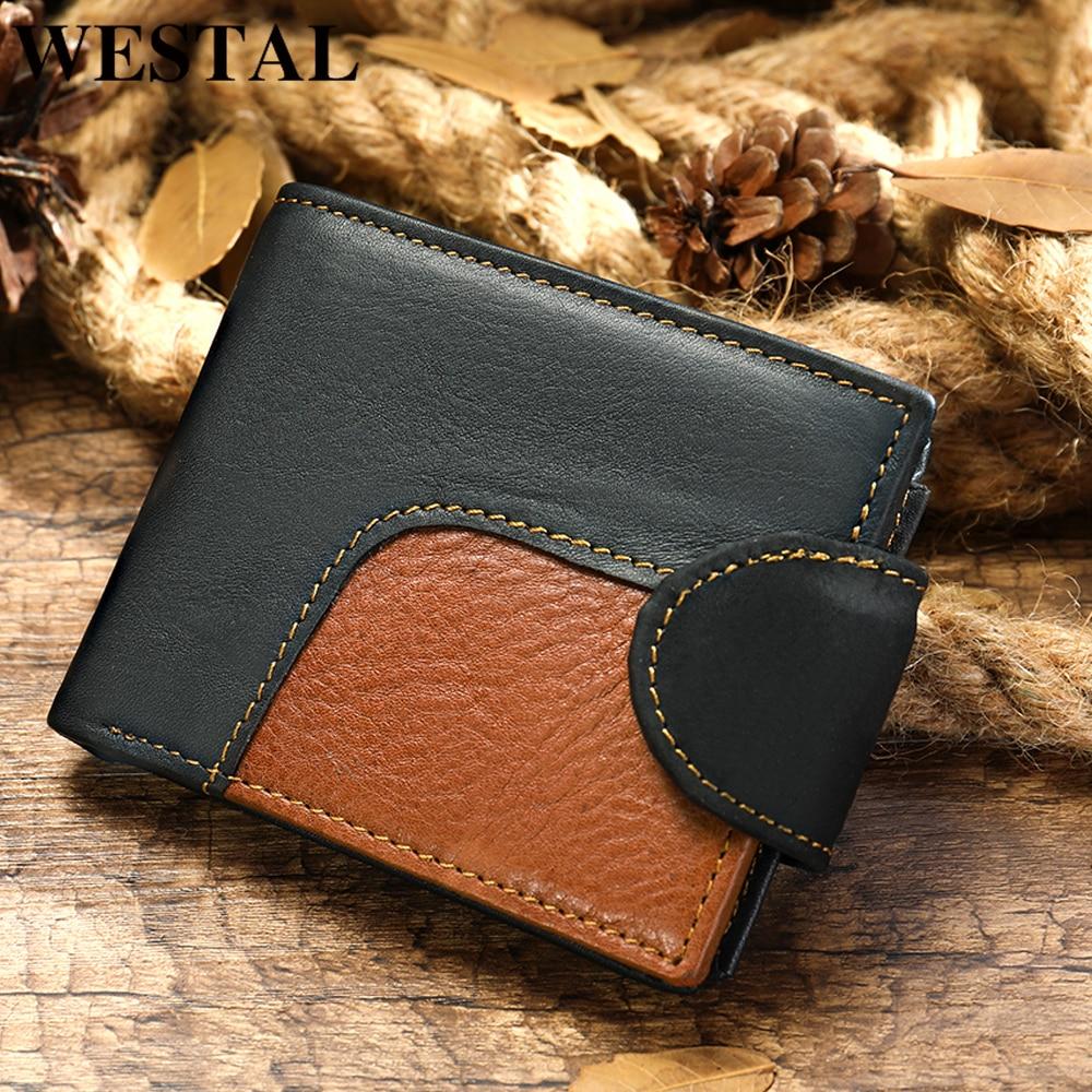 WESTAL Men's Wallet Genuine Leather Men's Purse For Men Credit Card Holder Male Purse Slim Vingate Wallet Short Money Bags 7037