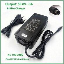 Зарядное устройство для батарей 58,8 В, 3 А, для литий-ионных батарей 14S, 48 В, электрический велосипед, литиевая батарея, зарядное устройство, вы...