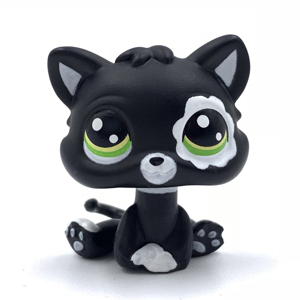 Lovely pet shop toys standing Short Hair <font><b>cat</b></font> MINI <font><b>Cat</b></font> #2249 <font><b>baby</b></font> <font><b>cat</b></font> with green eyes cute black kitty for girls collect image
