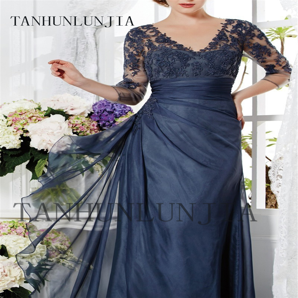 2020 Elegant Three Quarter Sleeve V-Neck A-Line Mother of the bride dresses Plus Size Long Evening dress Vestido mae da noiva