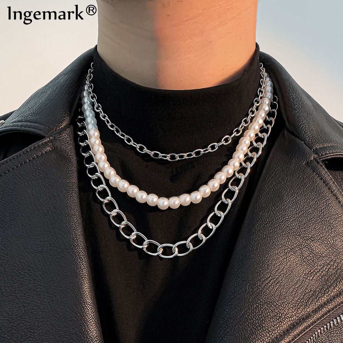 Silver chain necklace with pearl pearl necklace silver chain choker with pearl silver pearl choker.