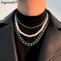 Vintage Nachahmung Perle Choker Halskette Frauen Silber Farbe Legierung Große Verschluss Perlen Kette Anhänger Halsketten Ästhetischen Lange Schmuck