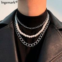 Collier chaîne en acier inoxydable pour hommes et femmes, style cubain, Imitation de perles, Vintage, couleur argent, mode, cadeau