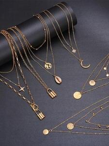 Necklace Bead Choker Fashion Jewelry BOHO Vintage Women Female for Bijoux Coin-Moon Pendants