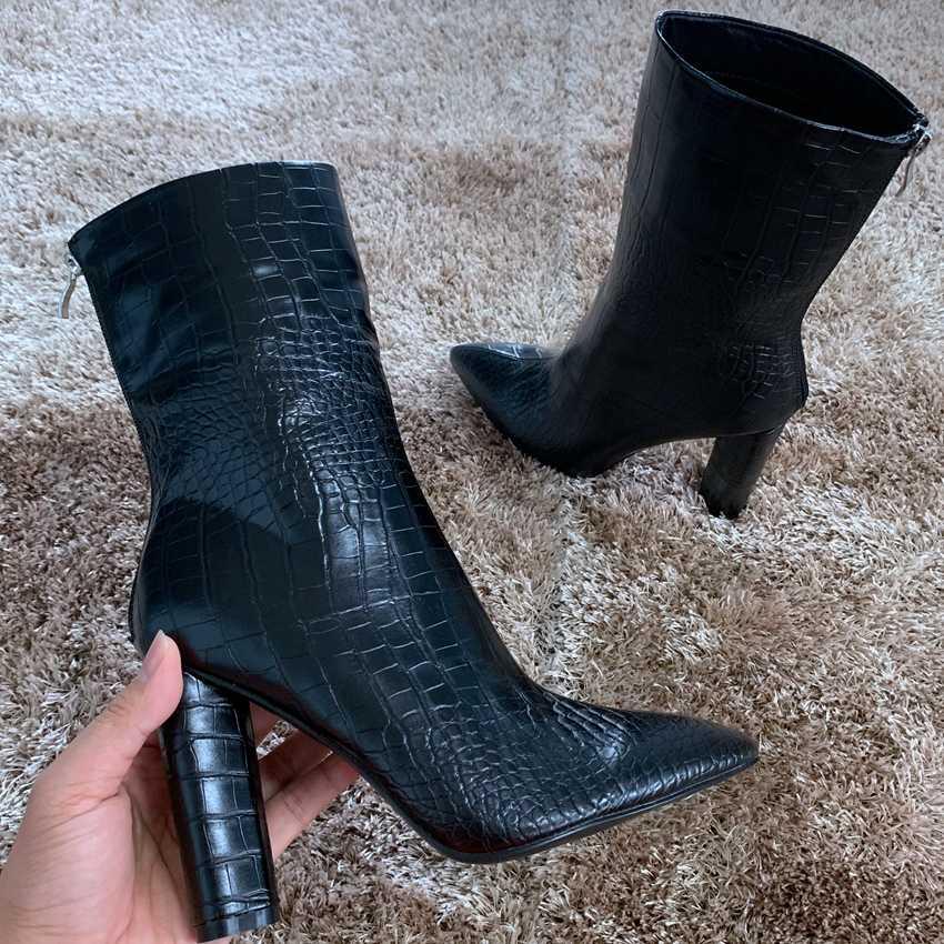 10.5CM yüksek topuk ayakkabı Punk Çizme Kadın Siyah Deri Kışlık Botlar Womens yarım çizmeler Bayanlar Motosiklet Botları Kürk kar botu Bayan